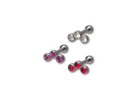 Steel Three Jewel Helix Barbell