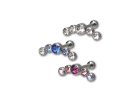 Steel Multi-Jewel Helix Barbell