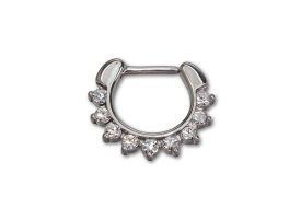 Steel Hinged Jewelled Septum Ring - style 2