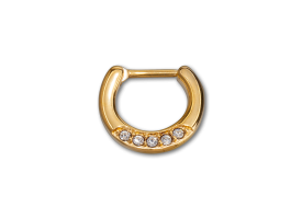 PVD Gold Steel Hinged Jewelled Septum Ring - style 3