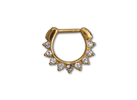 PVD Gold Steel Hinged Jewelled Septum Ring - style 2