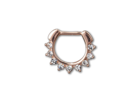 PVD Rose Gold Steel Hinged Jewelled Septum Ring - style 2