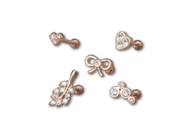PVD Rose Gold Steel Jewelled Tragus Barbell