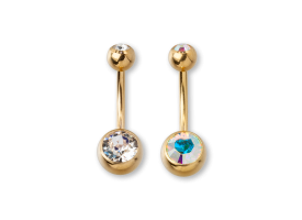 PVD 24kt Gold Double Jewelled Navel Barbell
