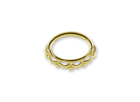 PVD Gold Steel Ethnic Oval Hinged Ring - Style 1