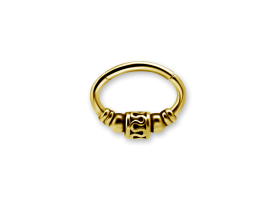 PVD Gold Steel Ethnic Oval Hinged Ring - Style 2