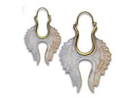 Brass and Shell Wings Earring