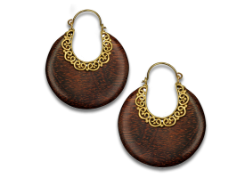 Brass and Wood Earring - Style 2