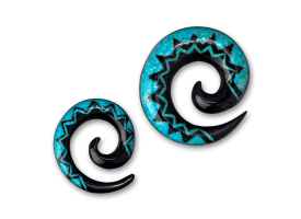 Turquoise Inlaid Horn Spiral - style 1