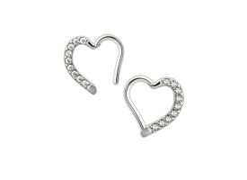 Steel Jewelled Hinged Heart